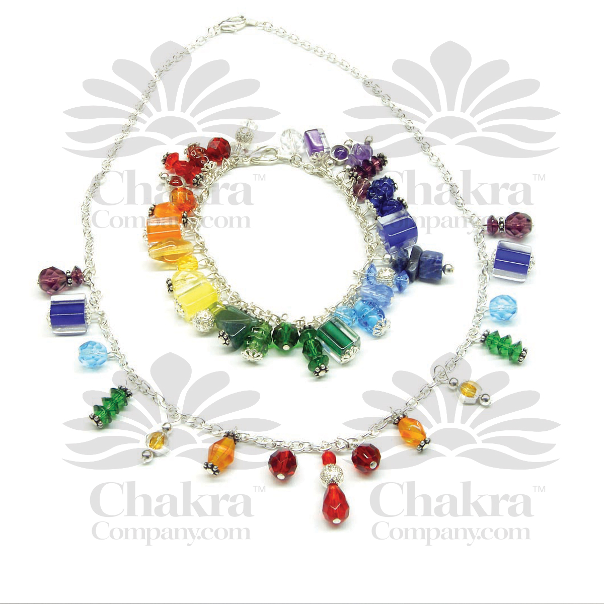 Rainbow Drop Necklace and Bracelet